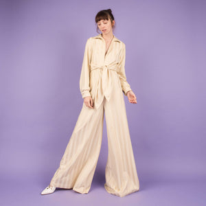 Vintage 70s Creme Striped Jumpsuit / S