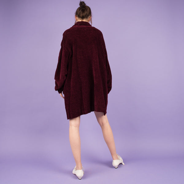 Vintage Oversized Berry Chenille Sweater Dress  / S/M