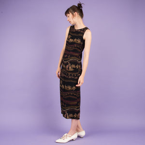 Vintage Black + Earthtone Midi Dress  / XS/S