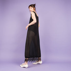 Vintage Black Semi Sheer Fringe Maxi Dress  / S