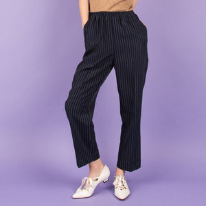 Vintage Navy Pinstripe Easy Pants  / S/M - Closed Caption