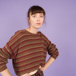Vintage Earthtone Striped Cropped Chunky Knit Sweater / S/M
