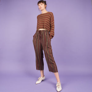 Vintage Earthtone Striped Cropped Easy Pants / S/M