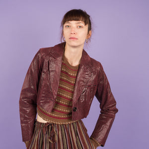 Vintage Croc Cropped Leather Jacket / XS/S