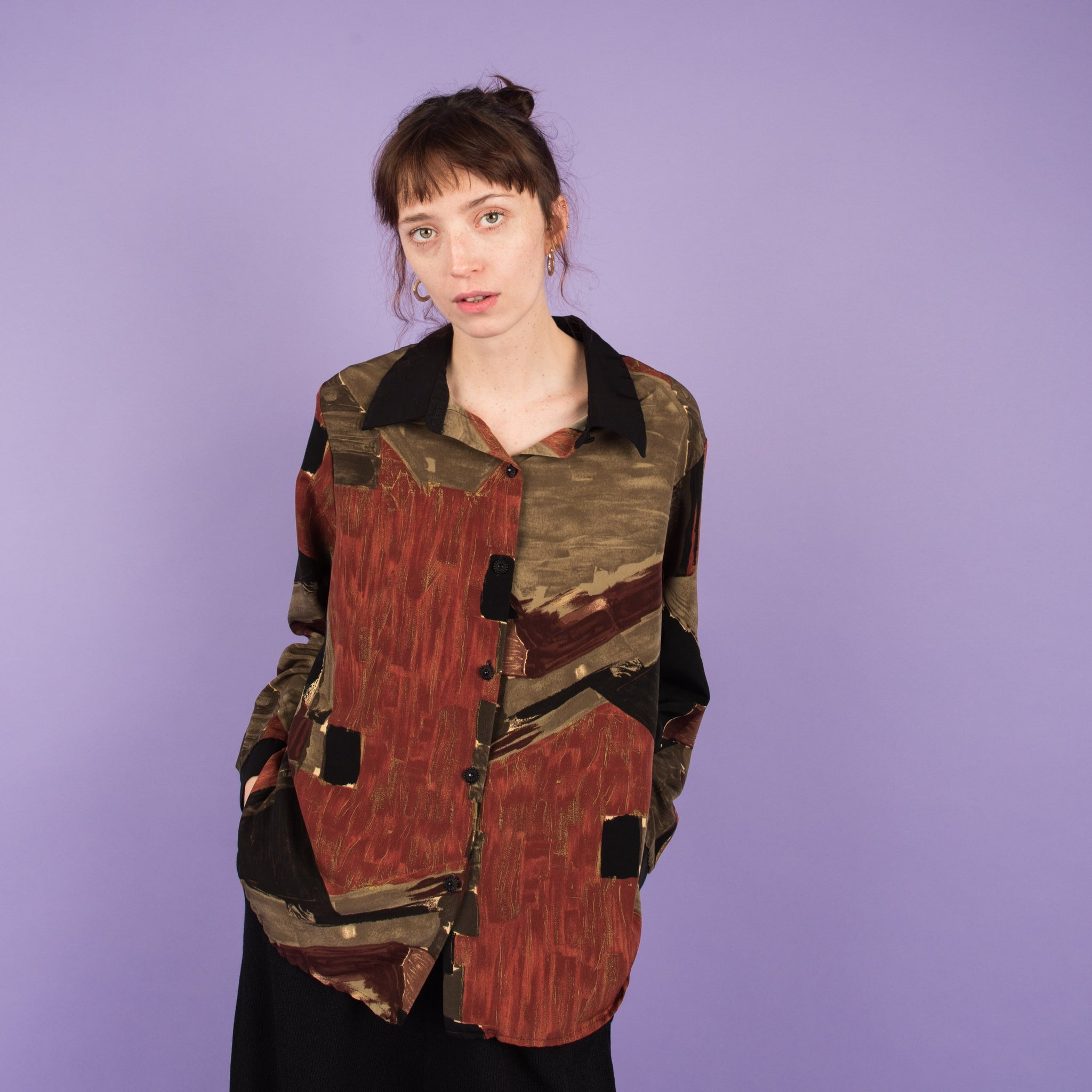 Vintage Abstract Art Earth Tone Blouse / S/M