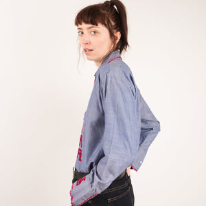 Vintage 70s Blue Embroidered Blouse / S