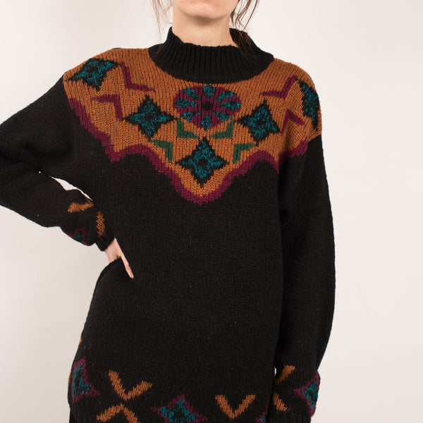 Vintage Black Fair Isle Sweater / XS/S