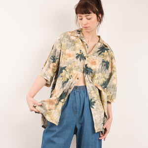 Vintage Oversized Tropical Floral Blouse / S/M