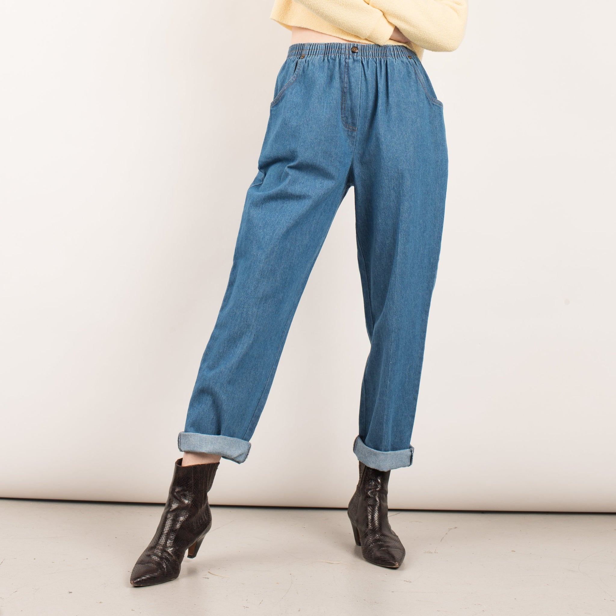 Vintage Blue Denim Easy Pants  / S/M
