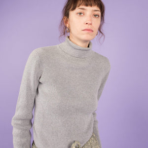 Vintage Grey Ribbed Turtleneck  / S/M