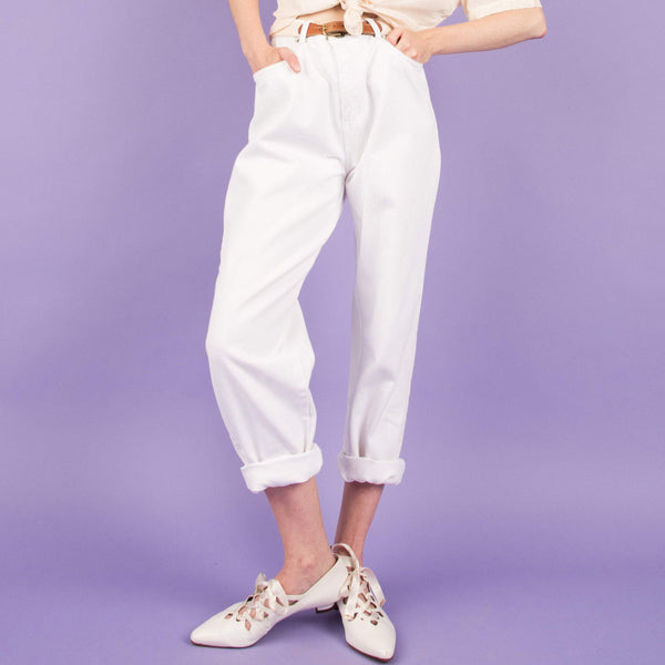 Vintage White Denim Pants  / S/M/L