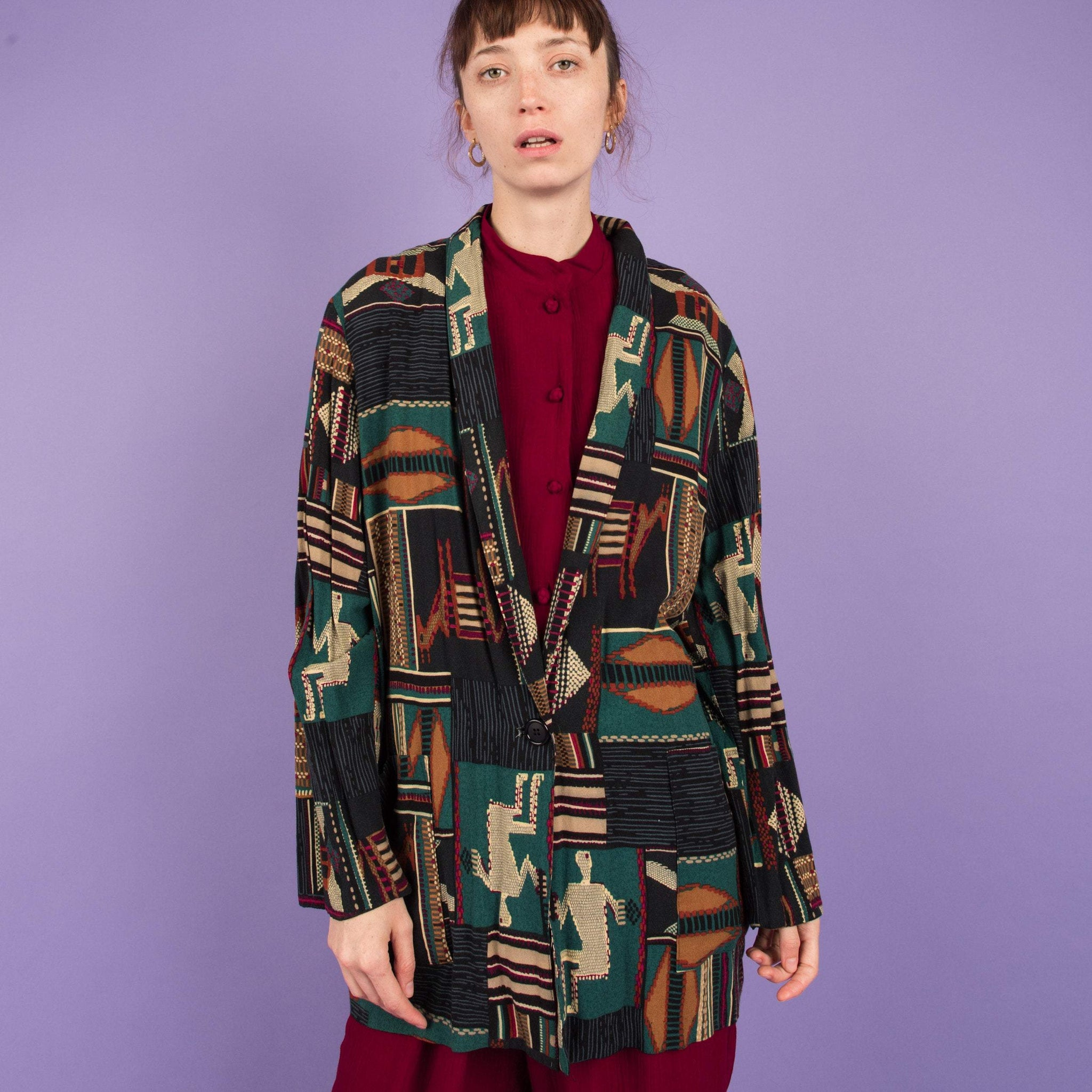 Vintage Abstract Art Oversized Blazer / S/M