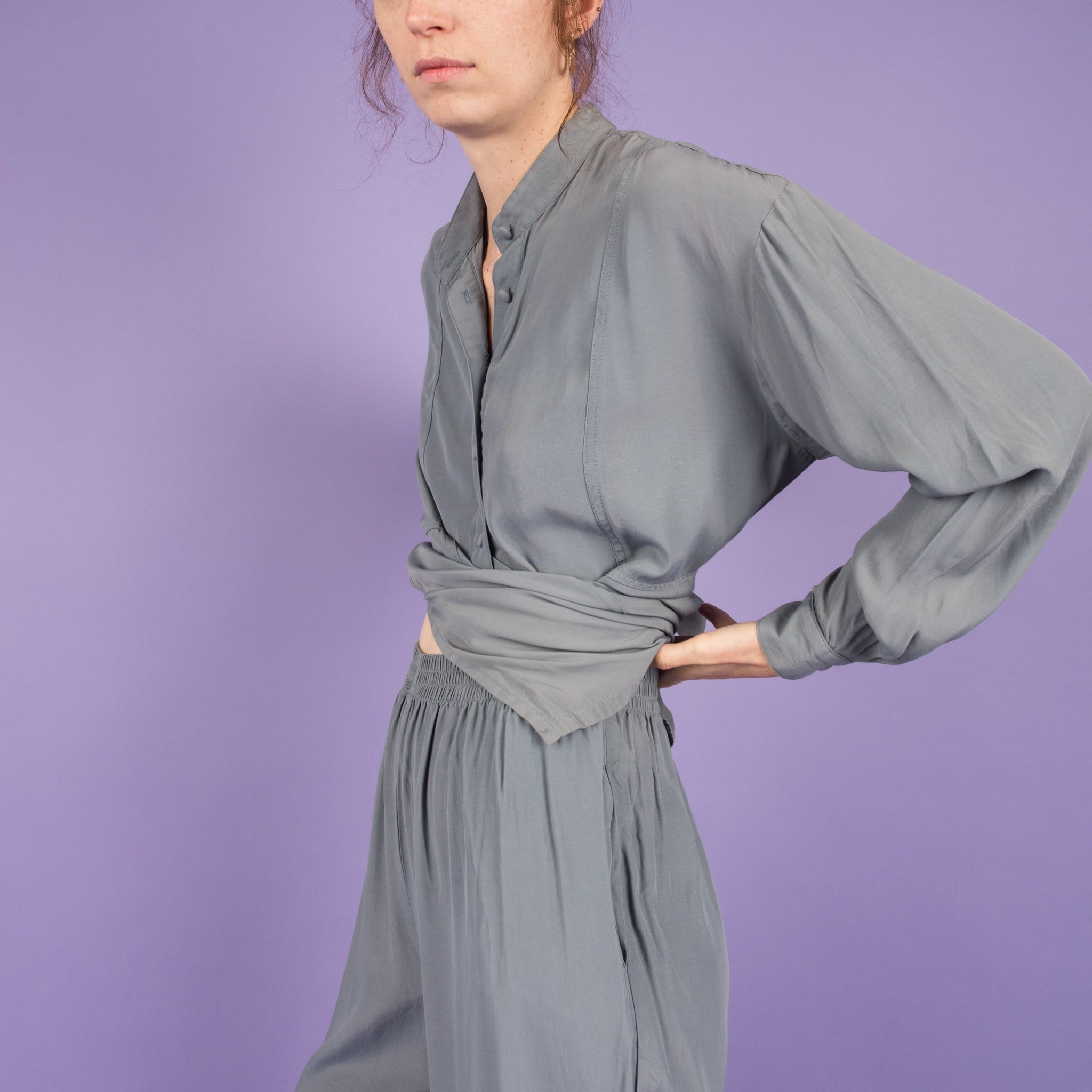 Vintage Blue Gray Two Piece Silk Set / S/M