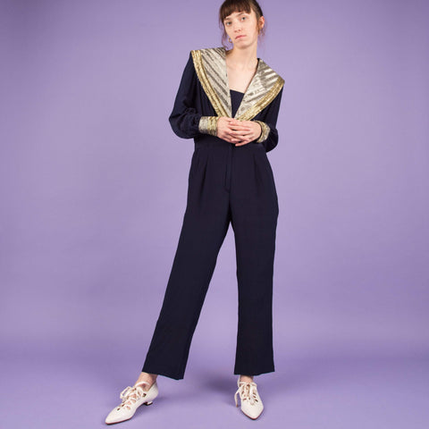 Vintage Navy Beaded Jumpsuit / S