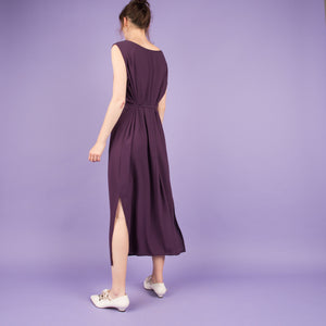 Vintage Lilac Crinkle Maxi Dress  / S