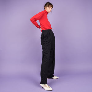 Vintage Navy Pinstripe Trousers / S/M