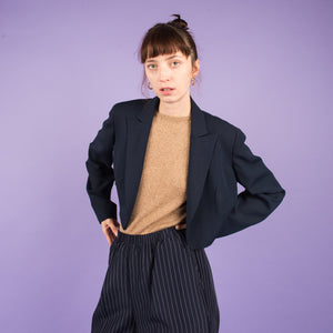 Vintage Navy Plaid Cropped Light Weight Blazer / S