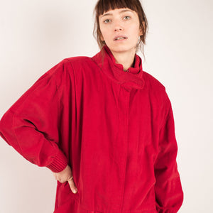 Vintage Ruby Red Corduroy Chore Jacket / S/M