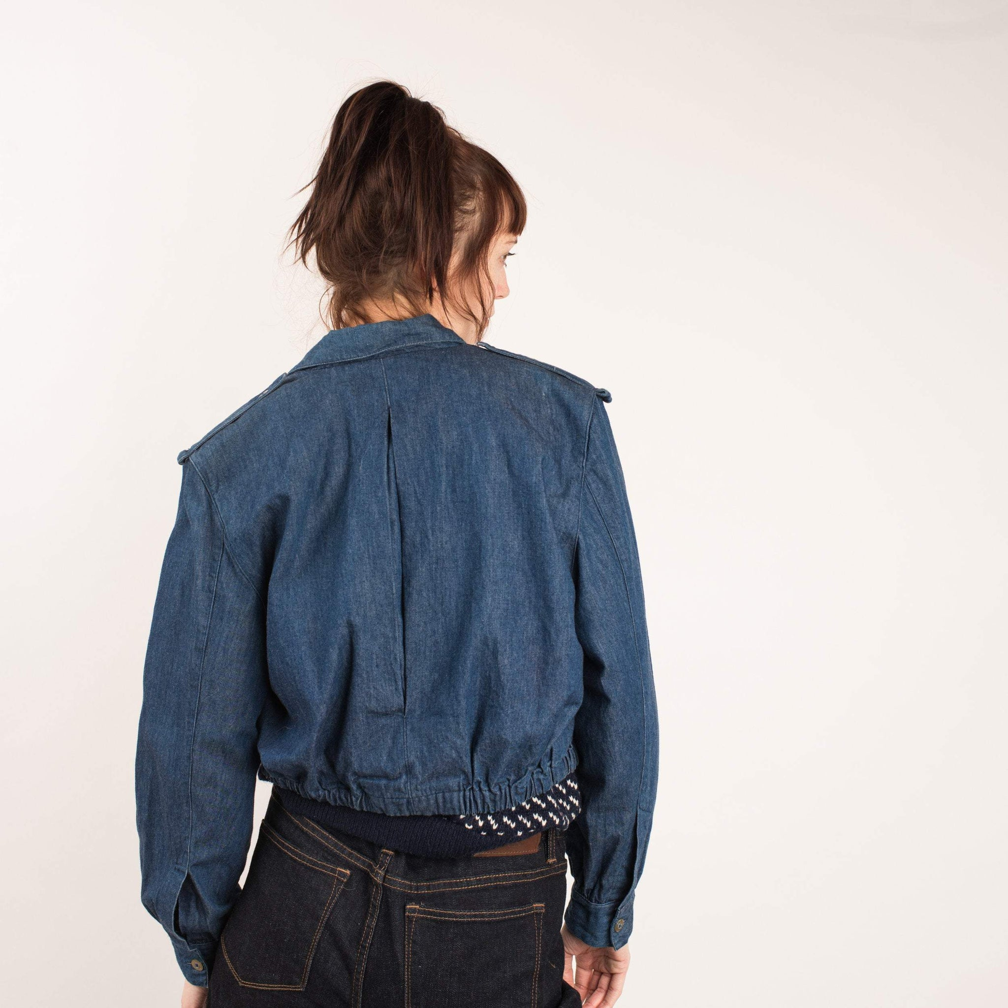 Vintage Cropped Denim Moto Jacket / S