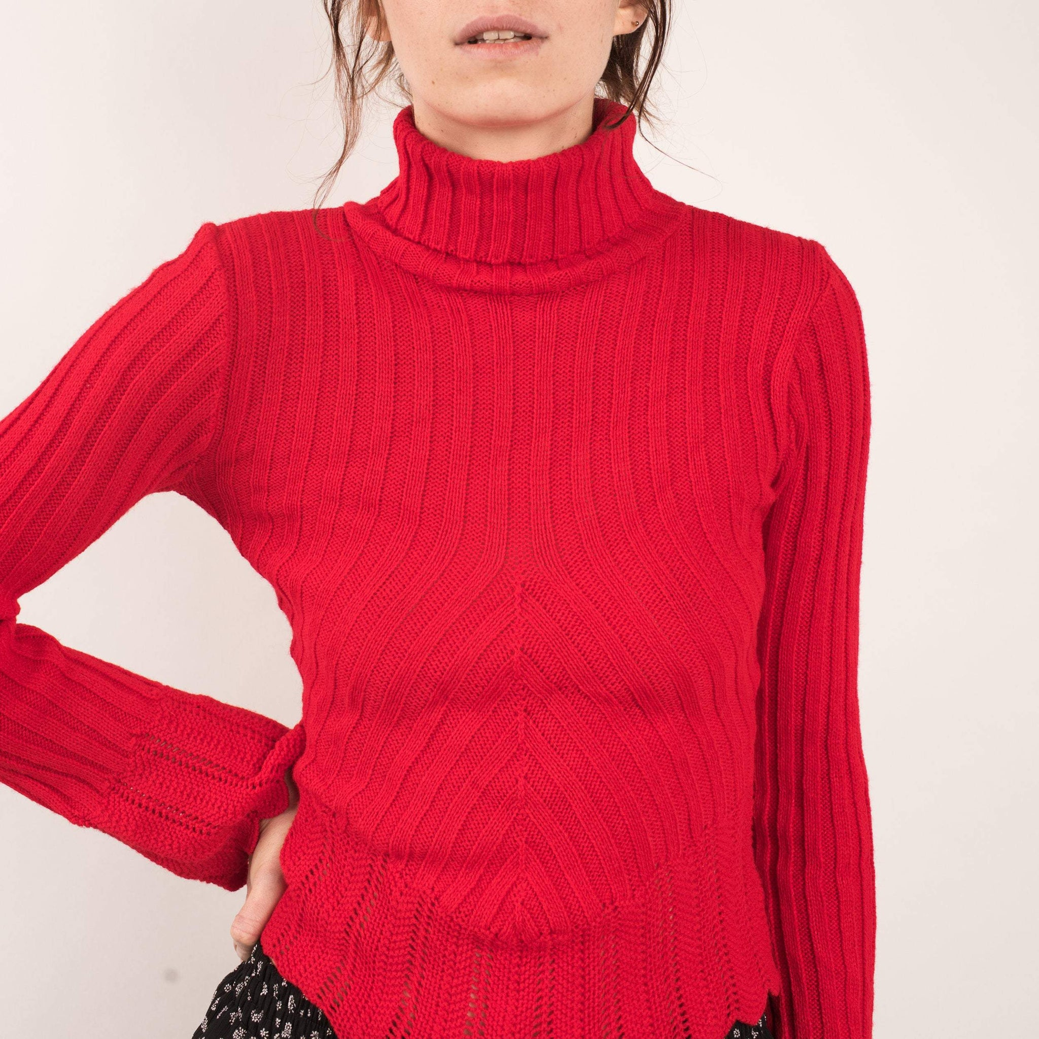 Vintage Fire Red Turtleneck Sweater / XS/S