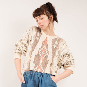 Vintage Tribal Geometric Cropped Knit Sweater / S