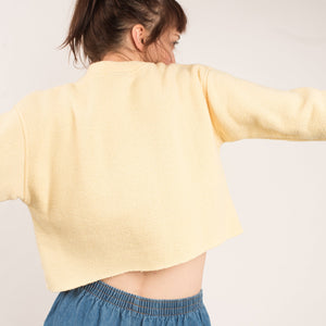 Vintage Lemon Sorbet Cropped Sweater / S