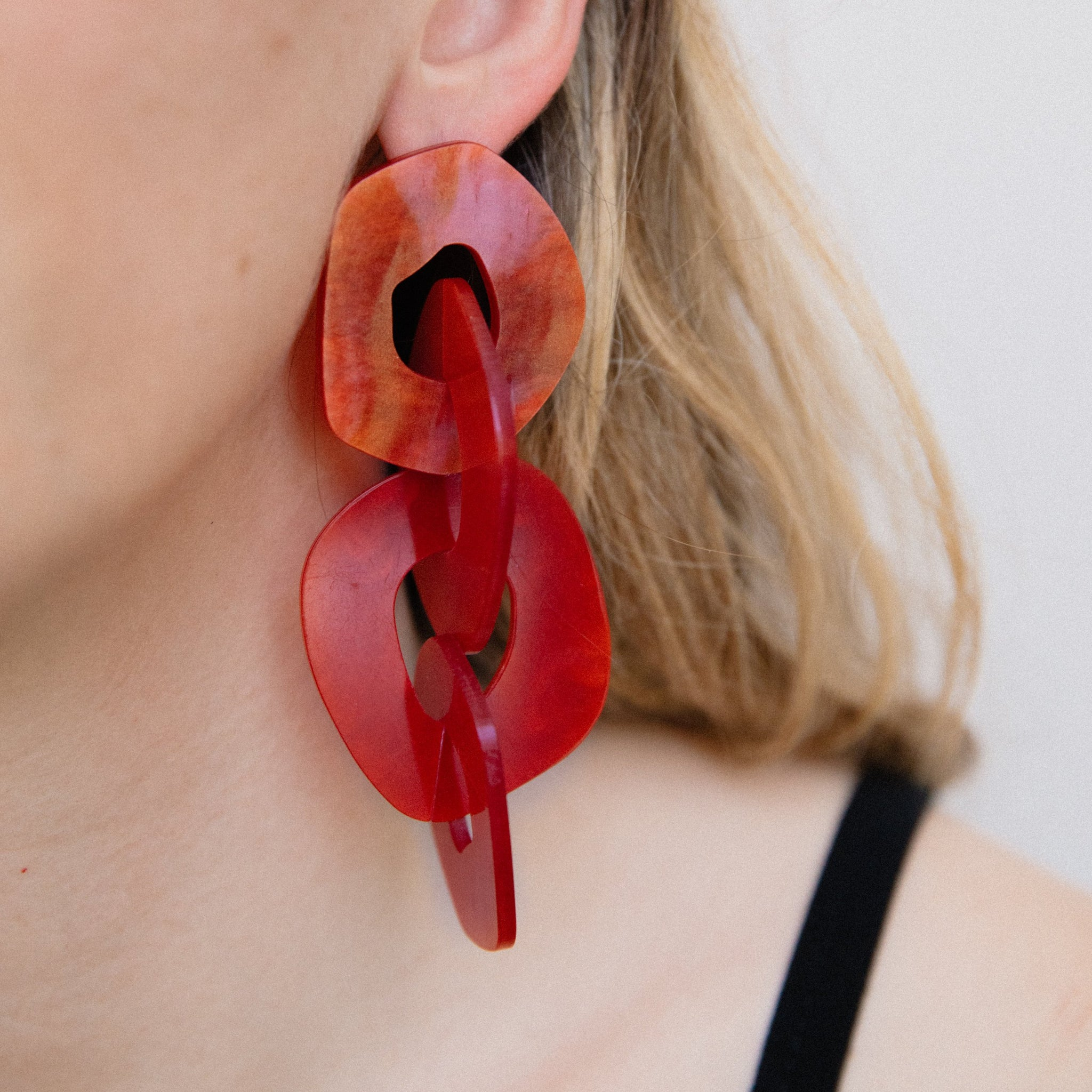 Overiszed Cherry Red Dangle Earrings