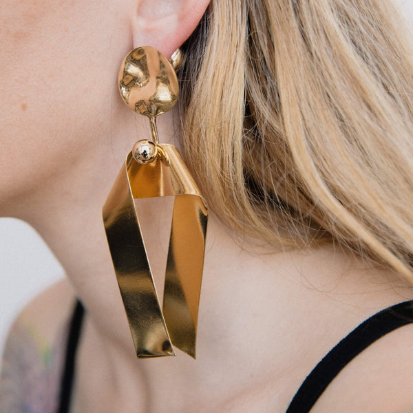 Oversized Gold Origami Dangle Earrings