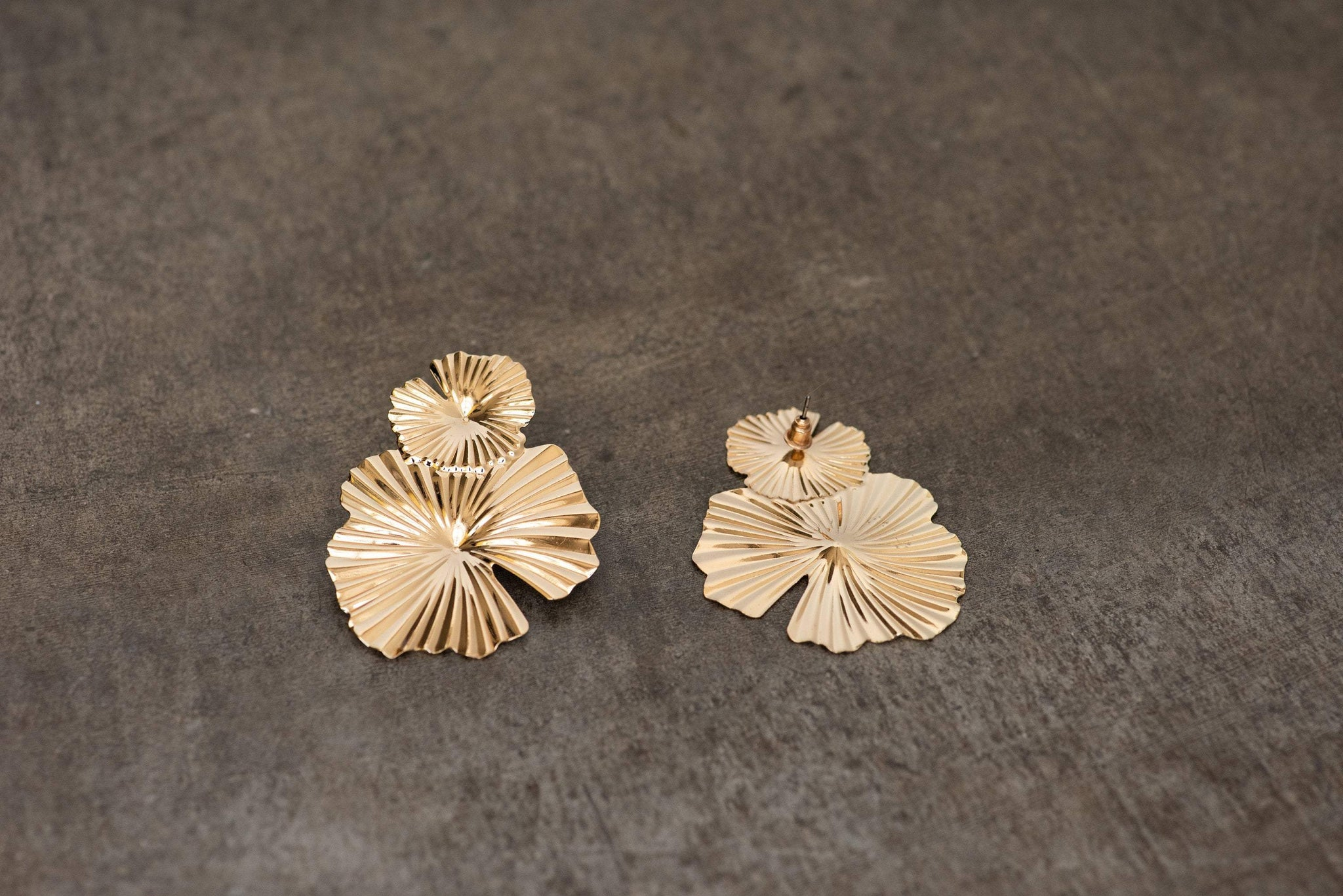 Gold Oversized Abstract Floral Earrings