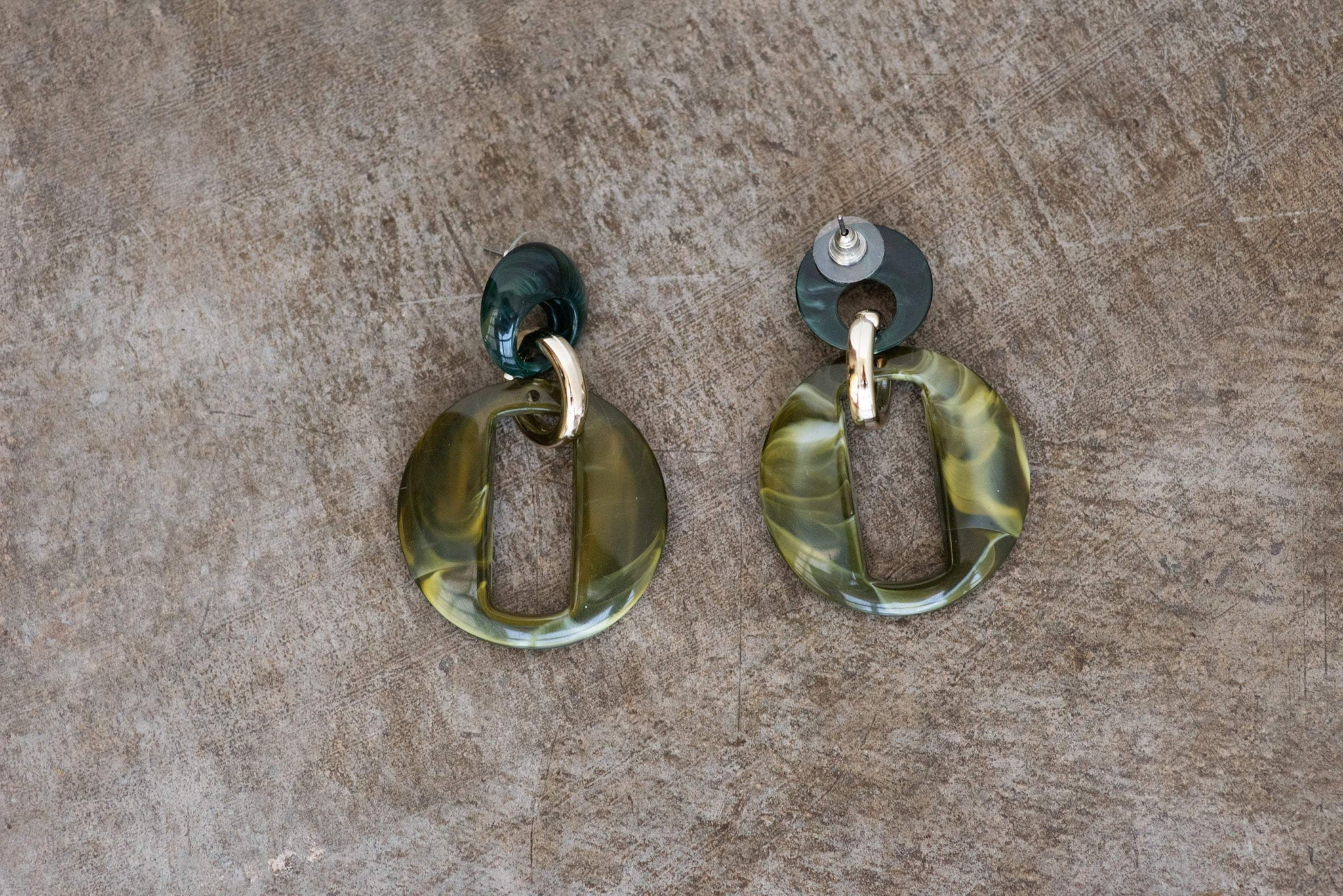 Olive Marble Double Dangle Earrings