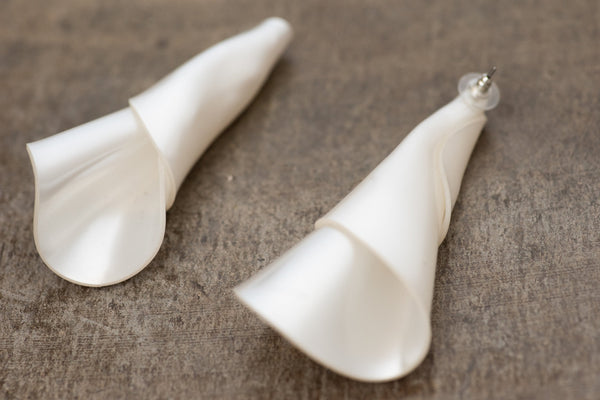 Oversized White Calla Lily Earrings