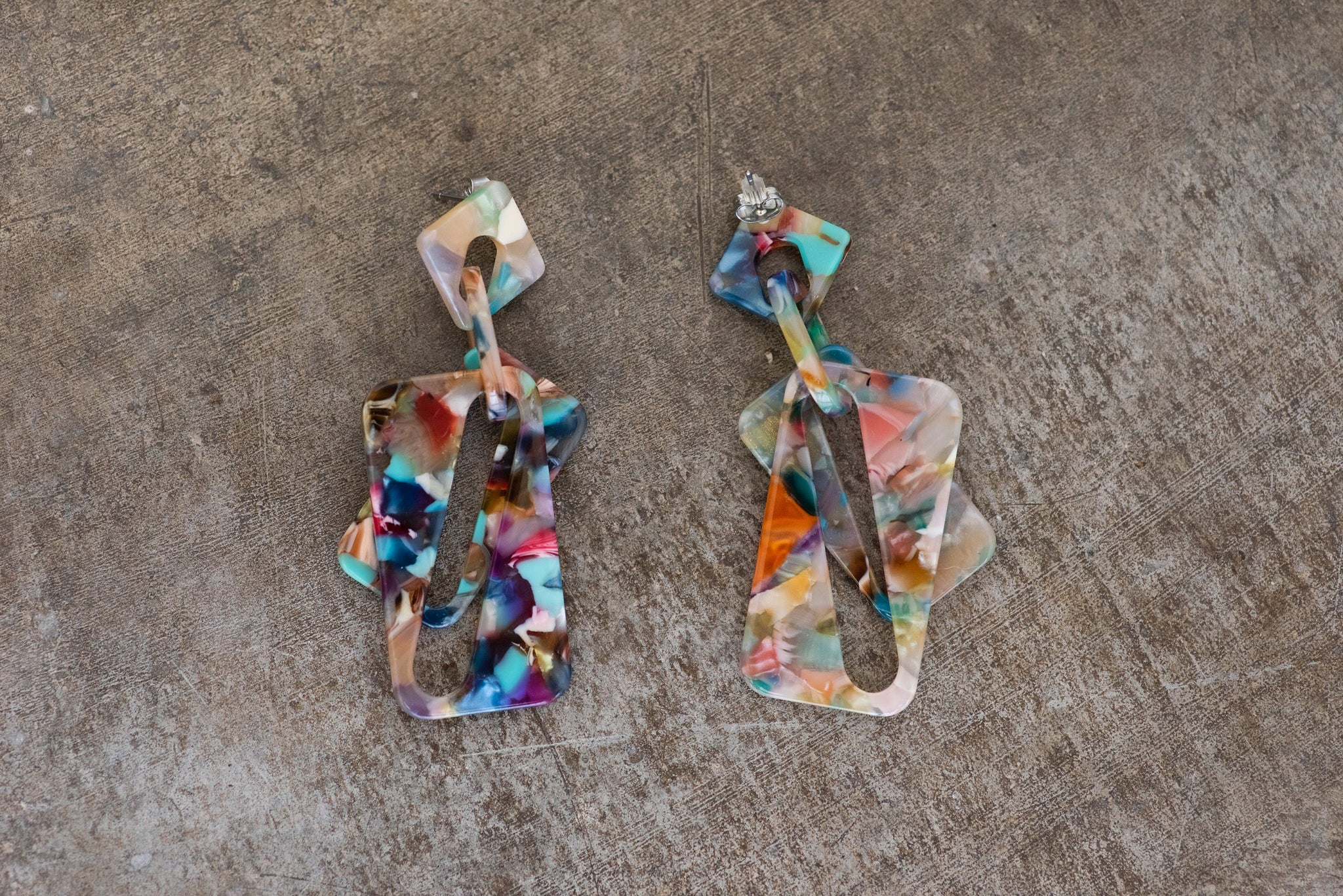 Rainbow Confetti  Geometric Earrings