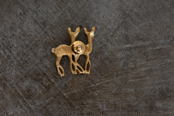 Gold Double Deer Pin Brooch