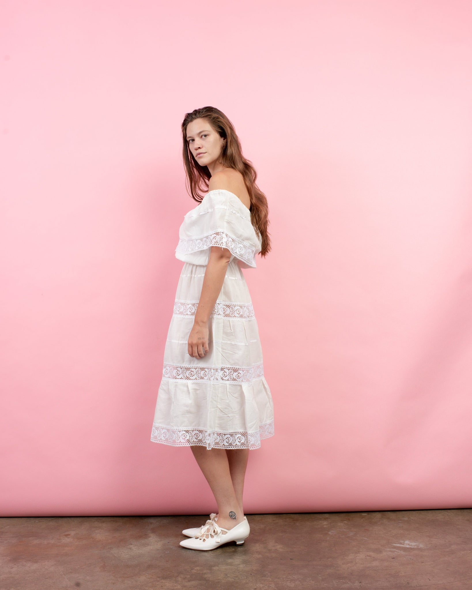 Vintage 70s White Boho Cotton Crochet Peasant Dress / S/M