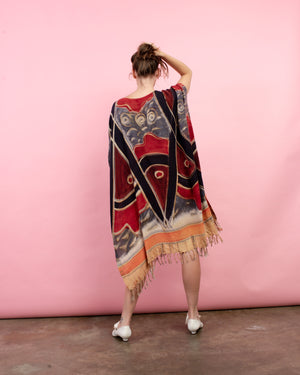 Vintage Colorful Abstract Fringe Tunic Dress / S/M/L