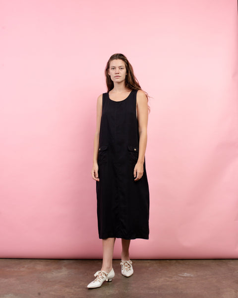 Vintage Oversized Charcoal Overall Maxi Dress / S/M