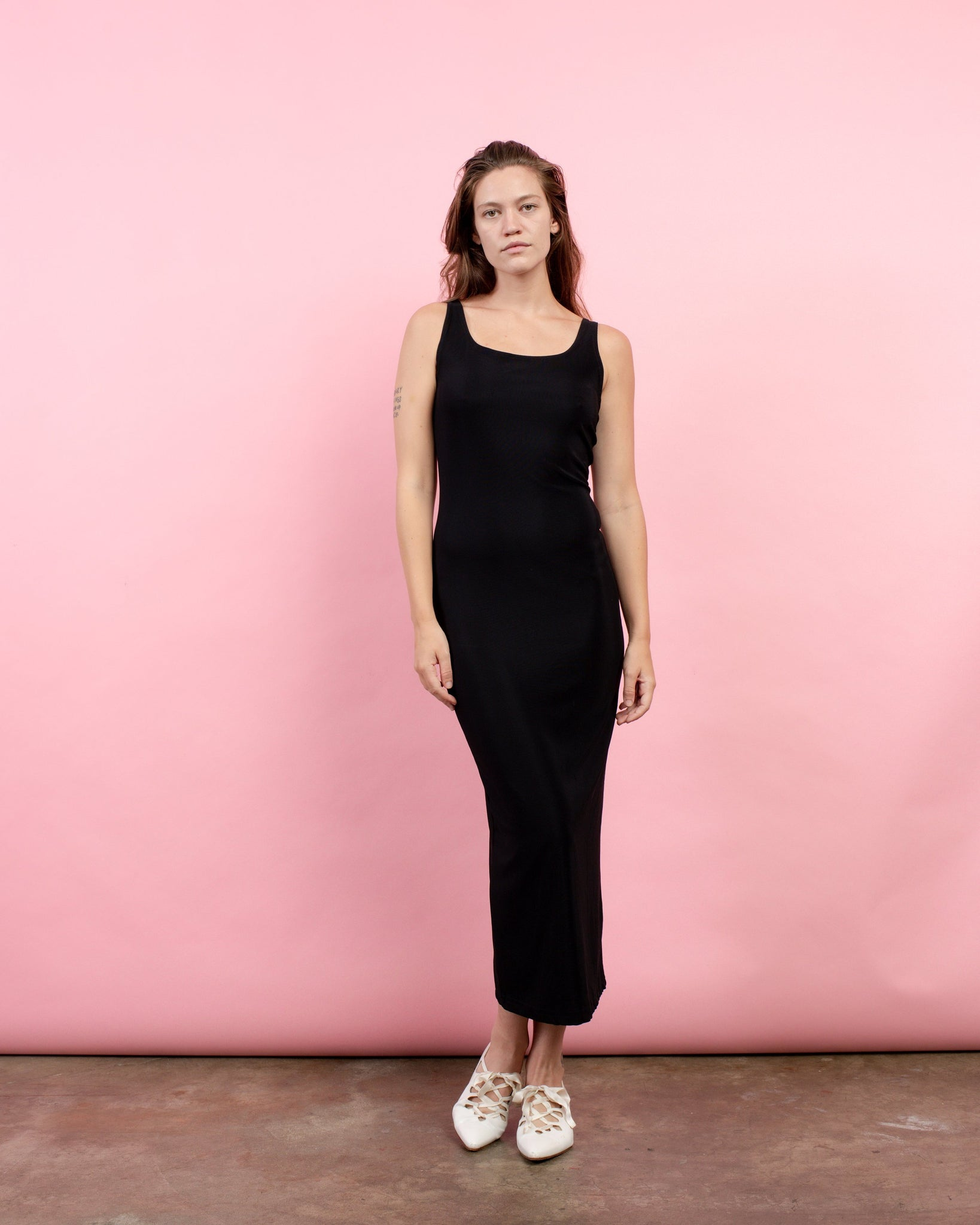 Vintage Black Slinky Tank Maxi Dress / S