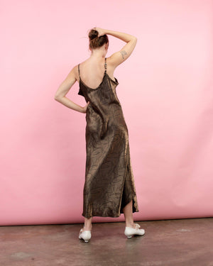 Vintage Oversized Gold + Black Abstract Slip Maxi Dress / S/M/L