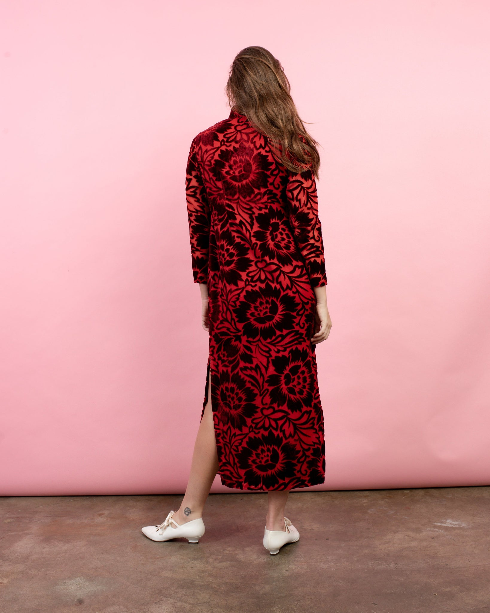 Vintage 60s Red Floral Flocked Velvet Maxi Dress / M