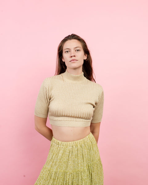 Vintage Gold Metallic Cropped Rib Knit Top  / S