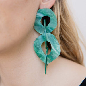 Oversized Green Marble Dangle Earrings