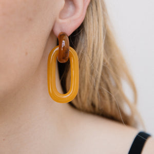 Chunky Smoky Caramel Double Dangle Earrings