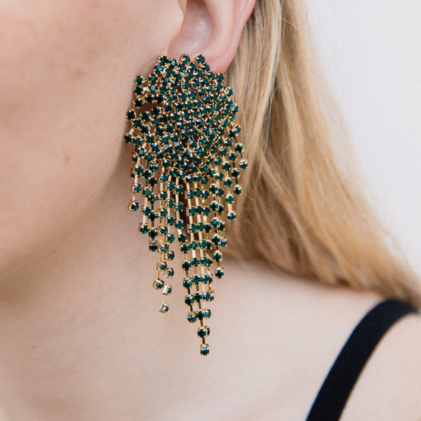 Oversized Dark Green Swarovski Dangle Earrings