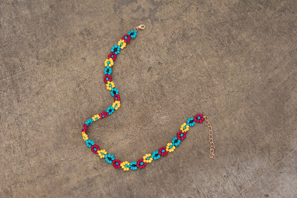 Daisy Colorful Beaded Floral Choker Necklace