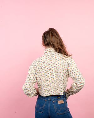 Vintage Floral Cropped Turtleneck  / S/M