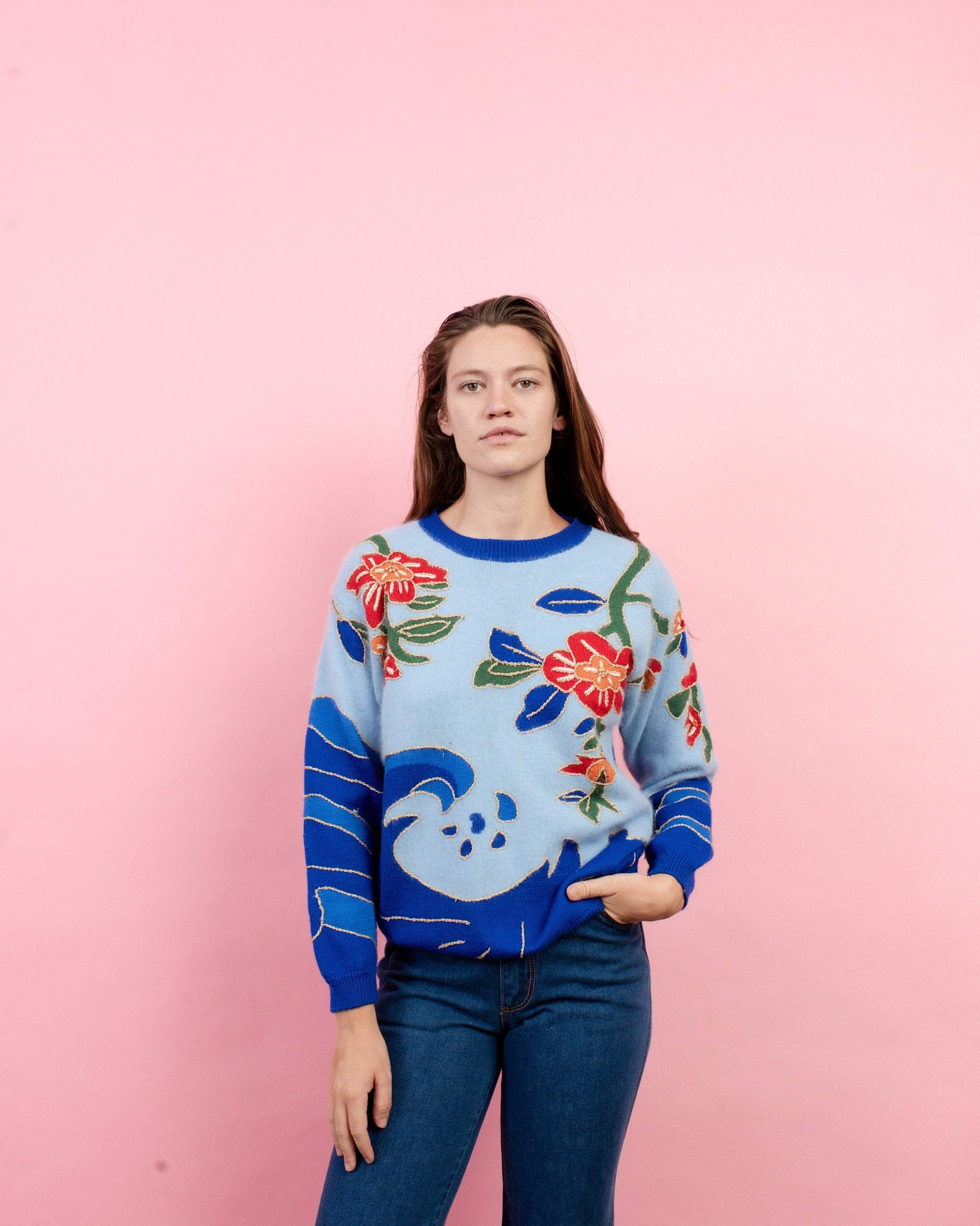 Vintage Floral Embroidered Mohair Sweater  / S/M