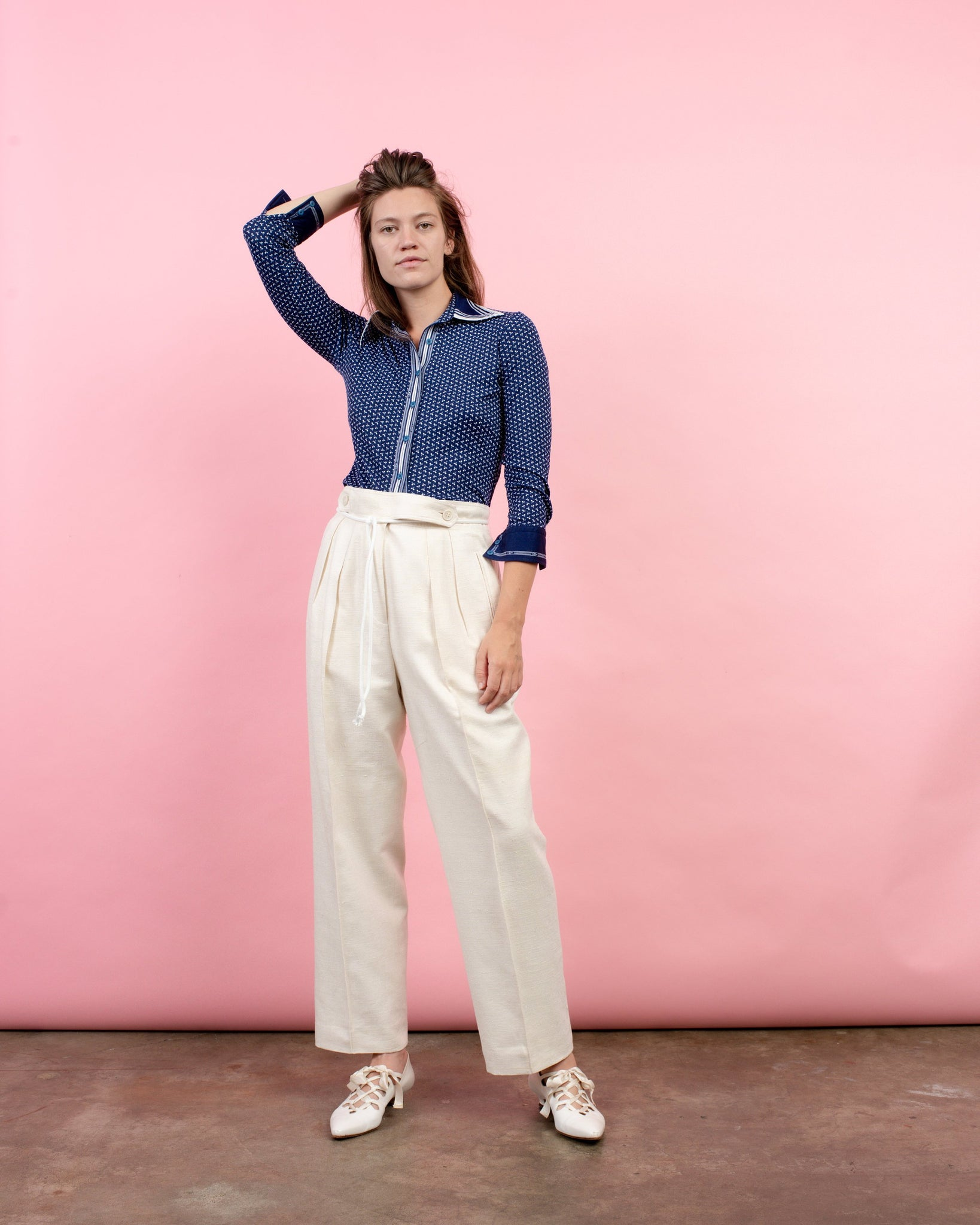 Vintage Creme Raw Silk Trousers / S/M