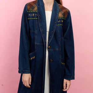 Vintage Dark Wash Blue Denim Western Duster / S/M