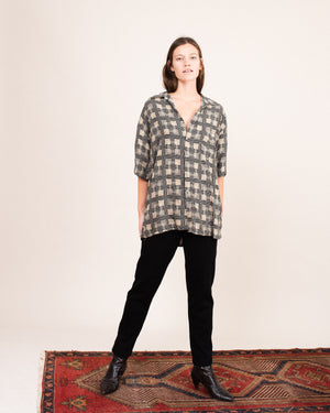 Vintage Oversized Abstract Geometric Blouse  / S/M