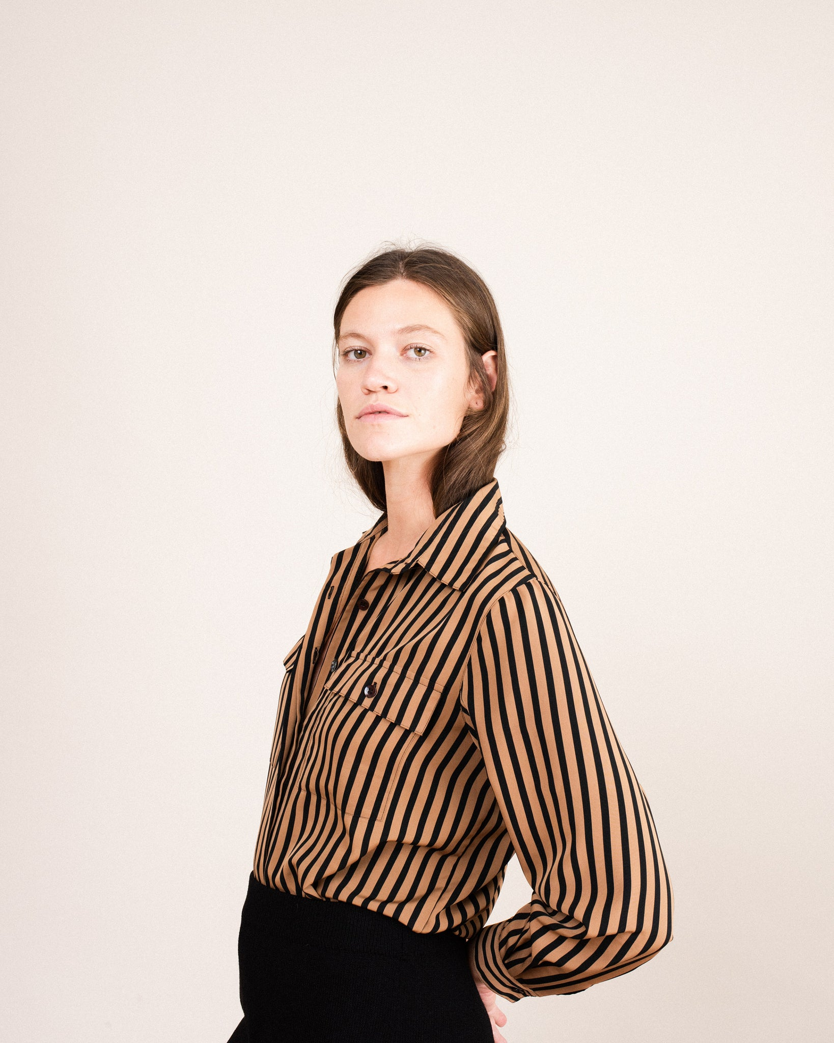 Vintage Black and Beige Striped Blouse  / S/M